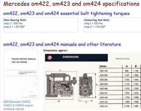 Mercedes OM422, OM423 and OM424 manuals, specs, bolt torques