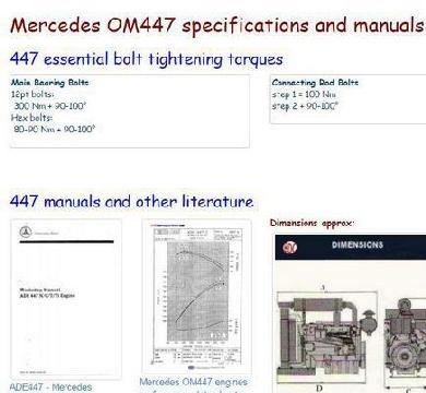 Mercedes OM447 manuals, specs, bolt torques