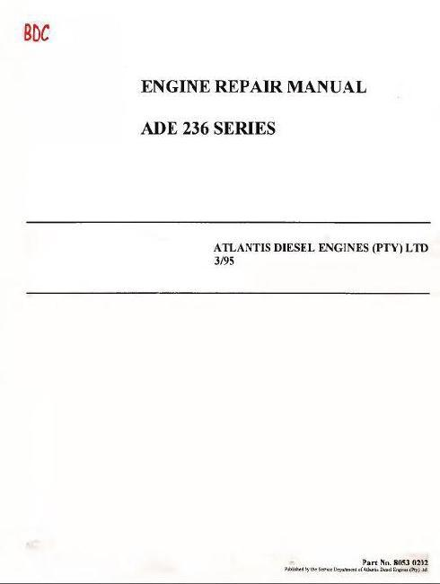 Ade 236 Engine Specs  Bolt Torques  Workshop Manual