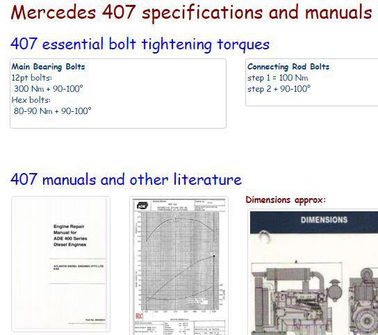 Mercedes OM407, OM409 manuals, specs, bolt torques