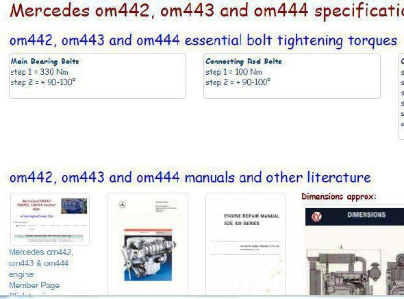 Mercedes OM442, OM443 and OM444 manuals, specs, bolt torques
