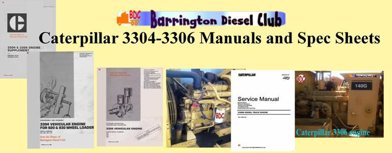 CAT 3304 and 3306 engine specs, bolt torques, manuals