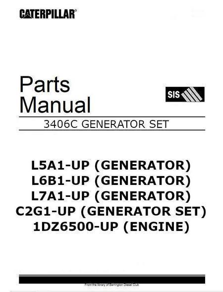 CAT 3406c Generator Set engine parts manual