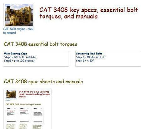Caterpillar diesel engine specs, bolt torques and manuals