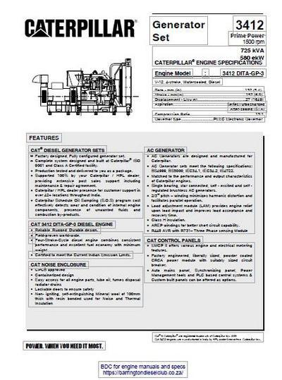 cat 3412 generator set spec sheet image