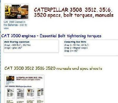 CAT 3508, 3512, 3516, 3520 bolt torques, specs