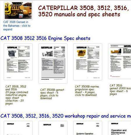 caterpillar 3500 engine manuals, spec sheets