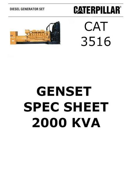 cat 3516 genset 2000 kva spec sheet p1 of 6