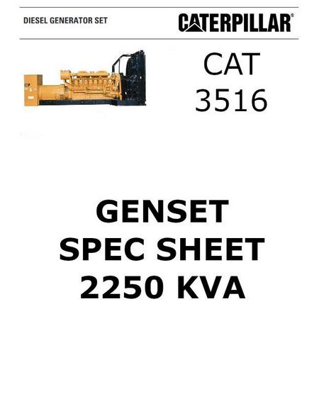 cat 3516 genset 2250 kva spec sheet p1 of 6