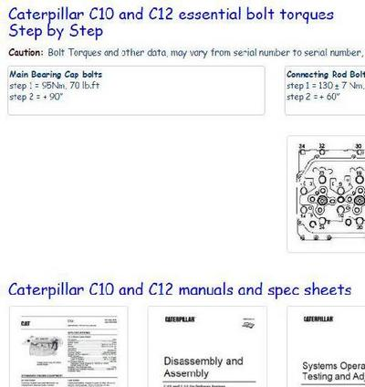 Caterpillar C10 C11 C12 essential specs and key bolt tightening torques