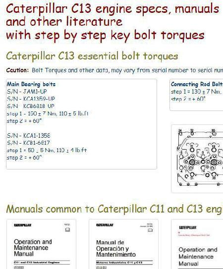 Caterpillar Diesel Engine Specs Bolt Torques And Manuals