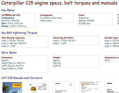 CAT c15 bolt torques and specifications