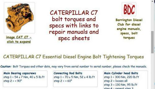 Caterpillar C7 Engine Specs And Bolt Torques