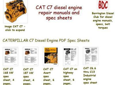 Caterpillar C7 manuals and spec sheets