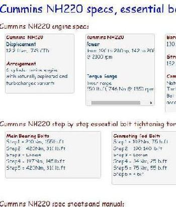 Cummins NH220 essential specs snip