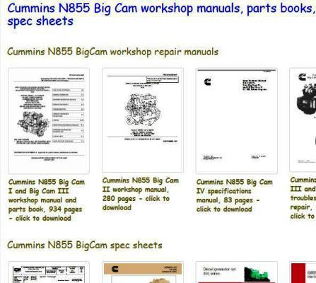 bigcam cummins n855 manuals and spec sheets