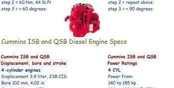 specs and bolt torques for Cummins ISB and QSB engines