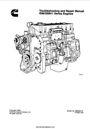 Cummins ISM11 and QSM engine specs, bolt torques and manuals