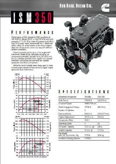 image Cummins ISM 350 hp spec sheet, p1