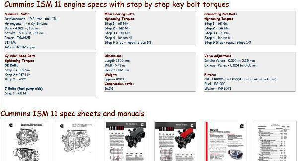 Cummins Diesel Engine Specs, bolt torques, manuals