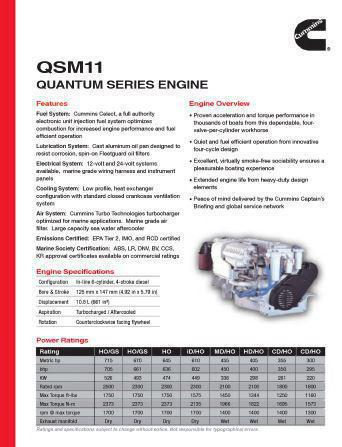 image Cummins QSM marine spec sheet, p1
