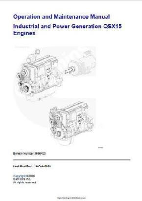 Cummins QSX15 operation and maintenance bulletins p1