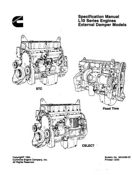 cummins l10 specs  manuals and bolt tightening torques