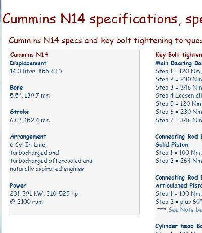 Cummins N14 essential specs snip
