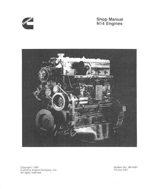 Cummins N14 specs, manuals and bolt tightening torques