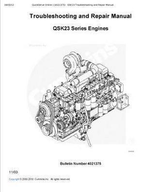 Cummins QSK23 engine workshop manual p1
