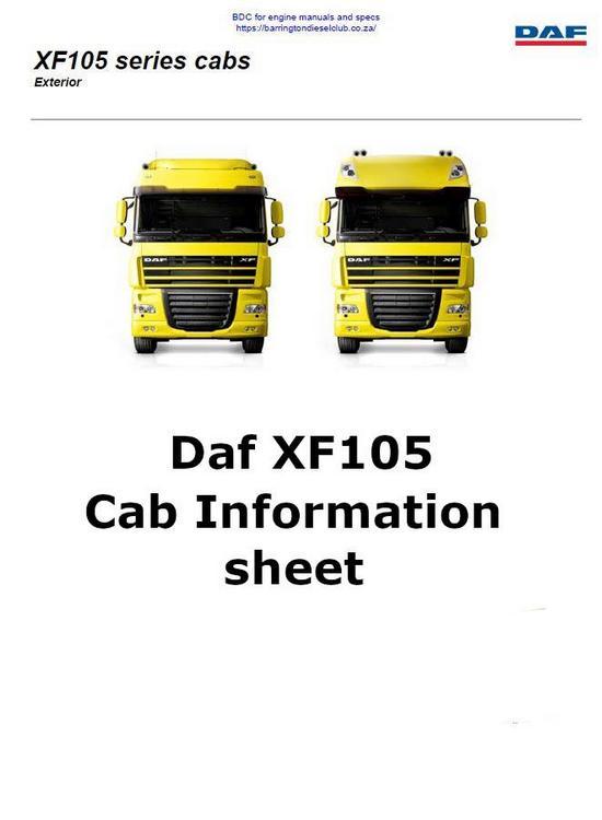 image Daf XF105 spec sheets p1