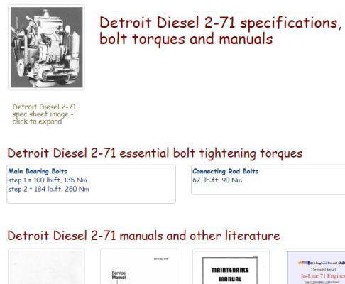 Detroit Diesel 1-71 essential specs snip