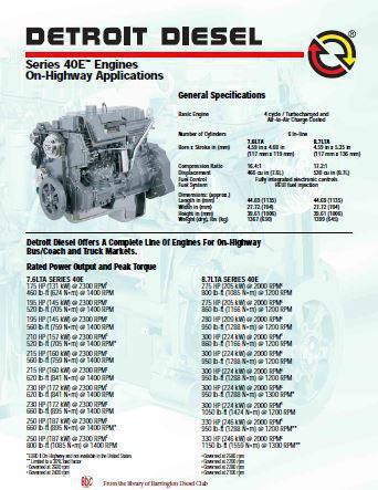 Navistar Diesel Engine DT466, DT530 Spec Sheet as written by Detroit Diesel
