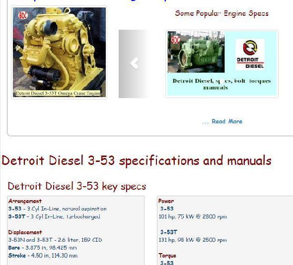 Detroit Diesel 3-53 essential specs snip
