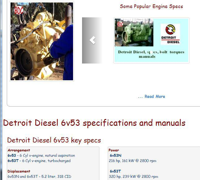 Detroit Diesel engine specs, bolt torques, manuals
