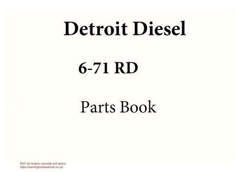 Detroit Diesel 6-71 rd engine parts book