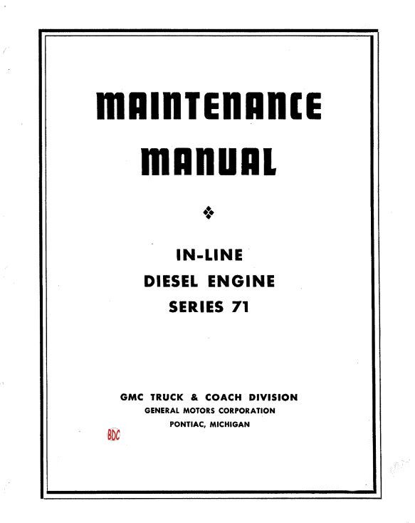 Detroit Diesel in line 71 workshop manual p1