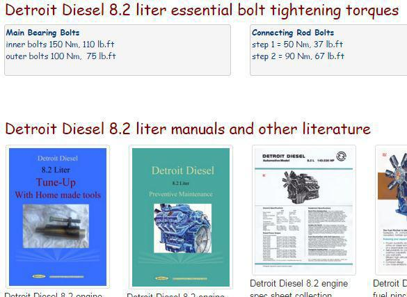 Detroit Diesel 8.2 liter fuel pincher engines essential specs snip