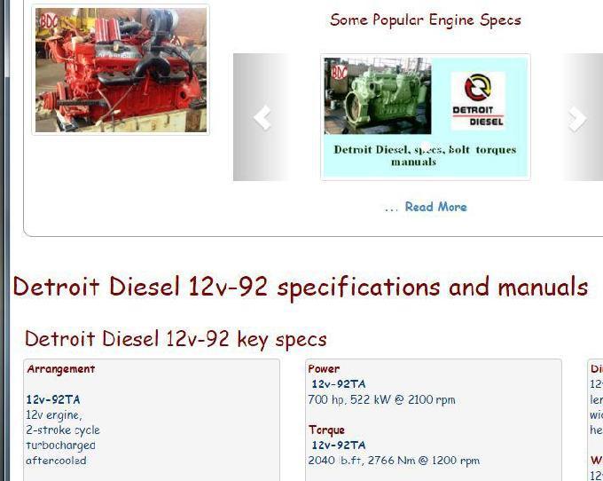 Detroit Diesel 12v92 essential specs snip