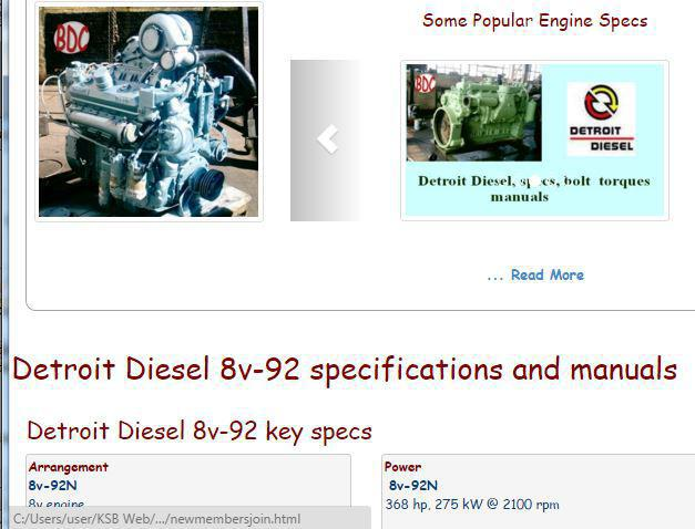 Detroit Diesel 8v92 essential specs snip