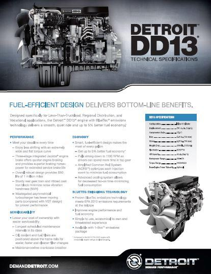 Detroit Diesel DD13 engine spec sheet p1
