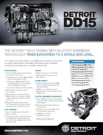 Detroit Diesel DD15 spec sheet p1