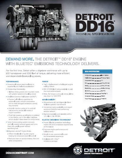 Detroit Diesel DD16 engine spec sheet p1