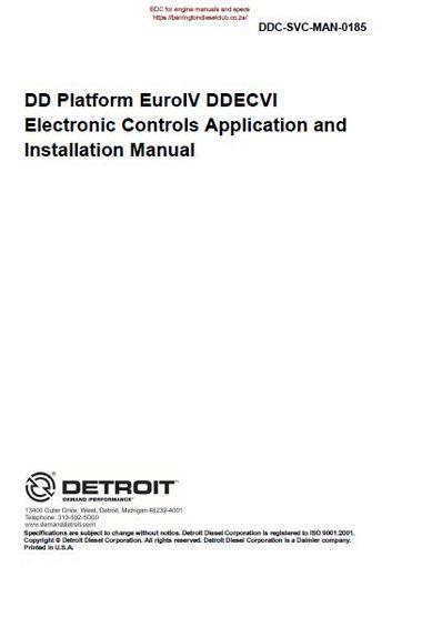 Detroit diesel dd electronic controls man p1