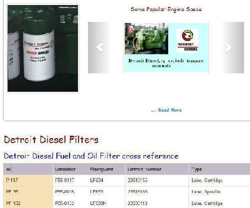 Detroit Diesel filter x-reference snip