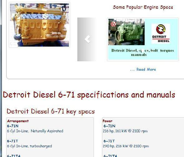 Detroit Diesel 6-71 specs, bolt torques, manuals