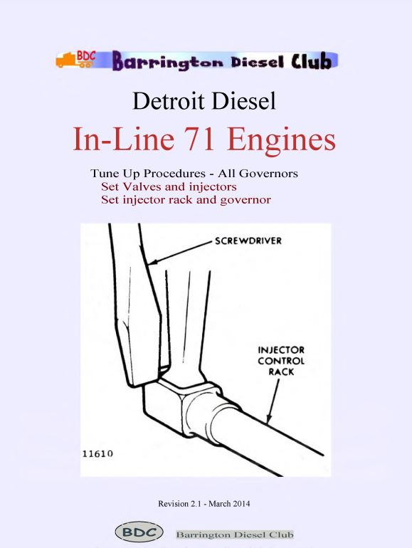 Detroit Diesel IN-71 engines tune up booklet p1