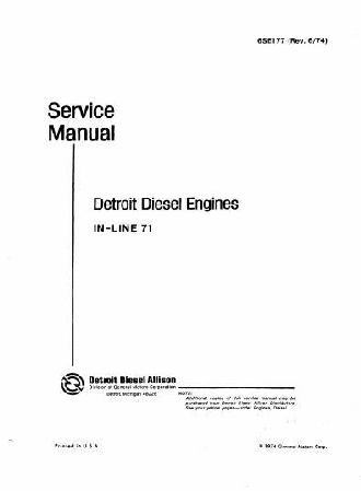 Detroit Diesel in line 71 workshop manual p1 of 951 pages