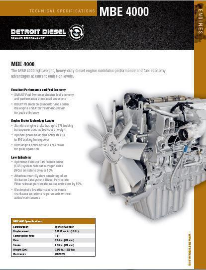 Detroit Diesel MBE 4000 specs, bolt torques and manuals