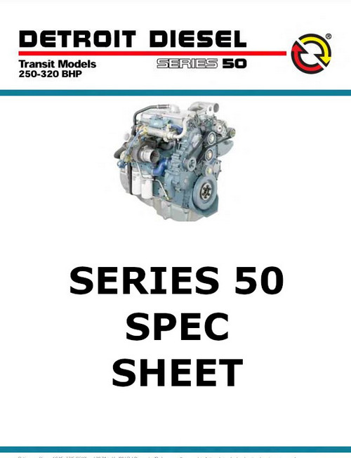image Detroit Diesel Series 50 Diesel Engine Spec Sheet -  p1 of 2 pages
